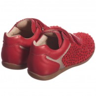 MISS BLUMARINE Girls Red Leather & Velcro Embellished Trainers