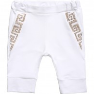 YOUNG VERSACE Baby White & Gold Greek Fret Jersey Trousers
