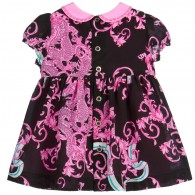 YOUNG VERSACE Baby Girls Pink Silk 'Baroque Dragon' Dress