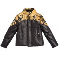 YOUNG VERSACE Boys Down Padded Black & Gold Baroque Jacket