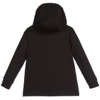 YOUNG VERSACE Boys Black Hooded 'Medusa' Painted Top