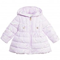 YOUNG VERSACE Baby Girls Lilac Baroque Print Down Padded Coat