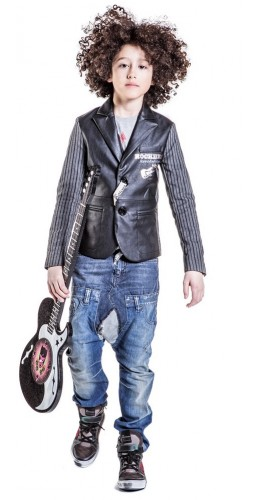 JOHN GALLIANO Boys Black Leather Blazer Outfit
