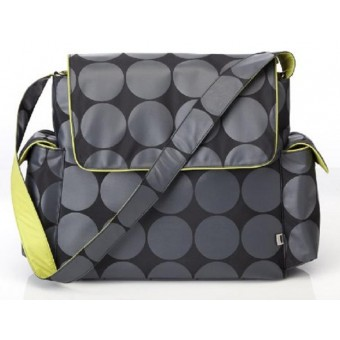 OiOi Grey Dot with Lime Interior Messenger Diaper Bag