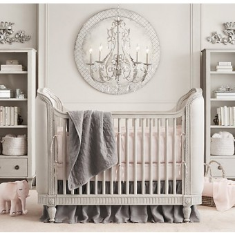 Belle Upholstered Crib Antique Grey Mist
