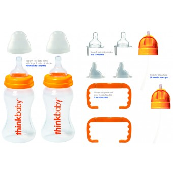 Thinkbaby All_In_One - (2 x 9oz, 2xStageA, 2xStageB, 2 handles, 2 spouts, 2 thinkster tops, 2 travel caps)