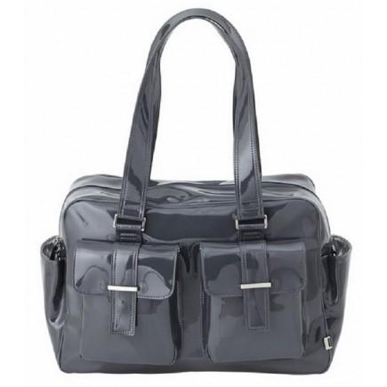 OiOi Gunmetal Patent Carry All Diaper Bag