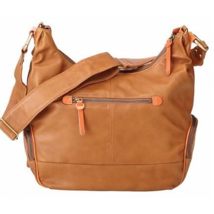 OiOi Tan Lamb Leather Diaper Bag - Orange