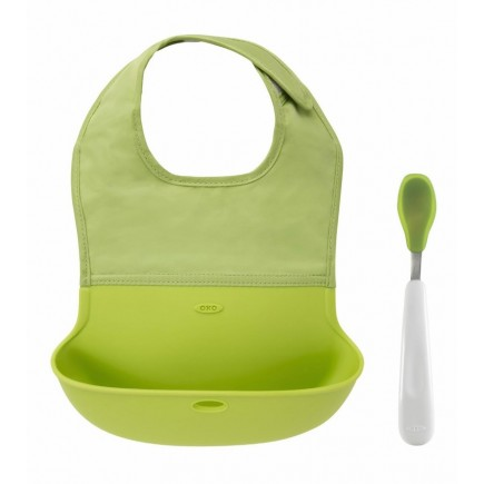 OXO Tot On-the-Go Bib & Spoon Set in Green