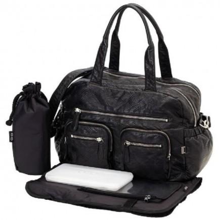 OiOi Faux Lizard Carry All Diaper Bag in Black