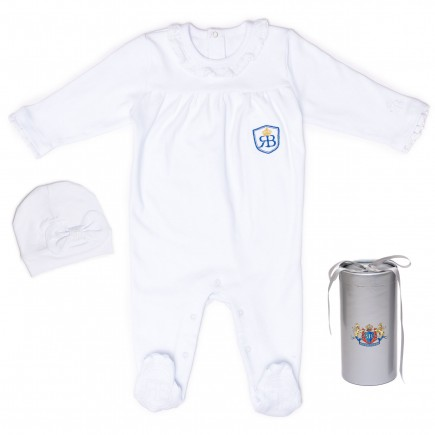 RB Royal Baby Organic Cotton Sleeve Footed Overall Footie with Hat in Gift Box (LittleMe)