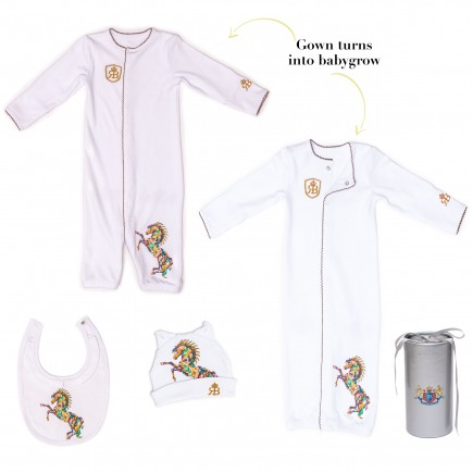 RB Royal Baby Organic Cotton Gloved Sleeve 2 in 1 Baby Gown Converter with Hat and Bib in gift box (Born to Be Wild)