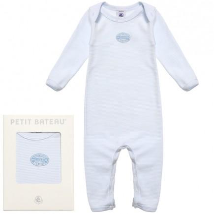 PETIT BATEAU Unisex Blue Milleraies Stripes Babygrow