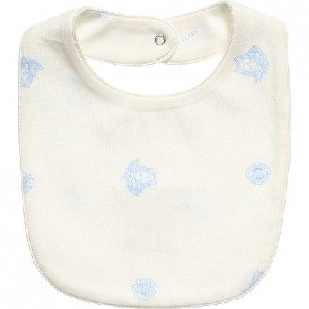 YOUNG VERSACE Ivory and Blue Medusa Bib