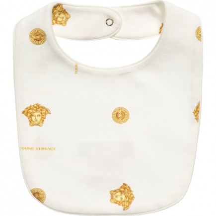 YOUNG VERSACE Ivory and Gold Medusa Unisex Bib