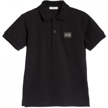 DOLCE & GABBANA Boys Black Pique Cotton Jersey Polo Shirt