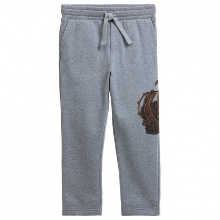 DOLCE & GABBANA Boys Grey 'Crown' Print Tracksuit Trousers