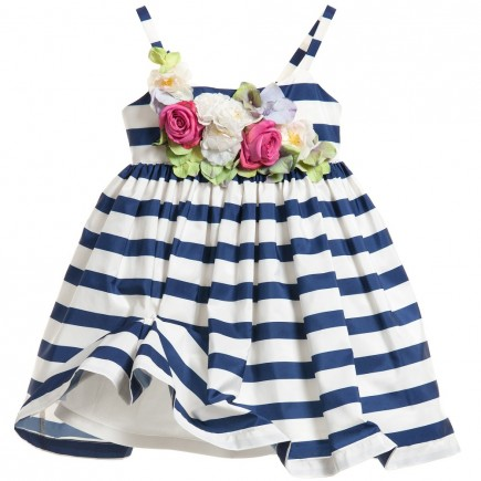 JUNIOR GAULTIER Navy Blue & White Striped Dress with Flowers