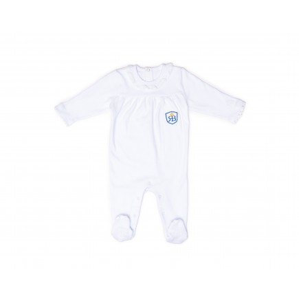 RB Royal Baby Organic Cotton Sleeve Footed Overall, Footie (Little Me) White