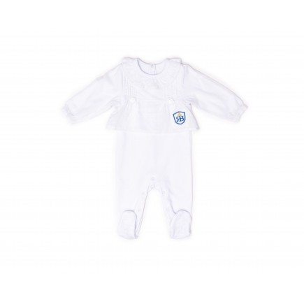 RB Royal Baby Organic Cotton Sleeve Footed Overall, Footie (Forever Me) White