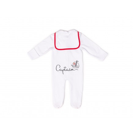 RB Royal Baby Organic Cotton Gloved-Sleeve Footed Overall, Footie (Captain) White Red