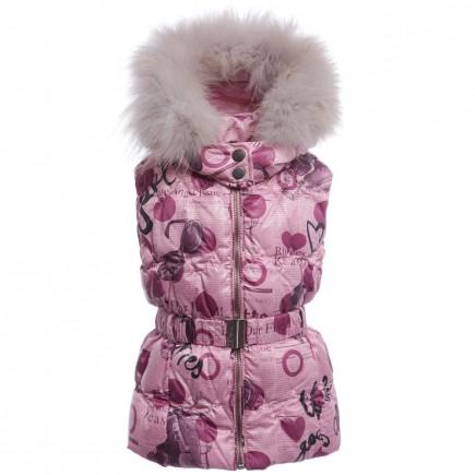 JOHN GALLIANO Girls Pink 'Gazette' Print Gilet & Fur Collar