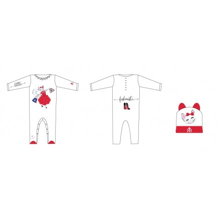 RB Royal Baby Organic Cotton Gloved Sleeve Footed Overall, Footie (Little Fashionista)
