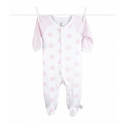 Little Giraffe Lollipop Henley Footie in Pink - 0 to 3 Months