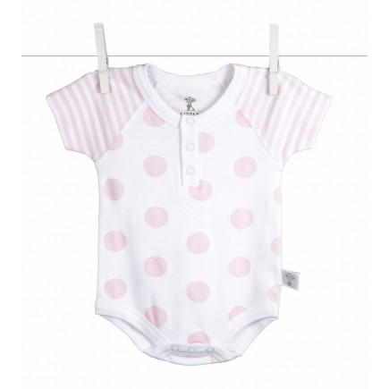 Little Giraffe Lollipop Henley Onesie in Pink - 0 to 3 Months