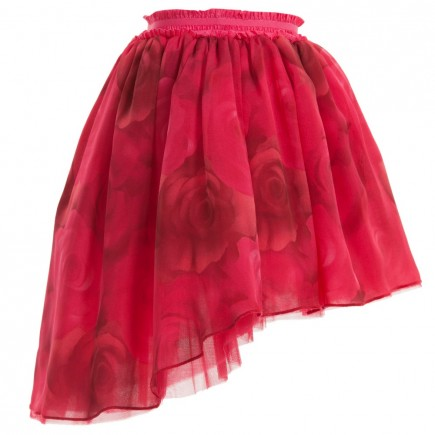 MISS BLUMARINE Rose Pink Silk Skirt with Roses Print
