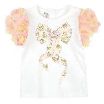 MISS BLUMARINE Cotton jersey T-shirt with appliqué flowers - White