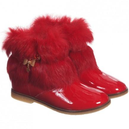 MISS BLUMARINE Girls Red Boots with Fur Trim