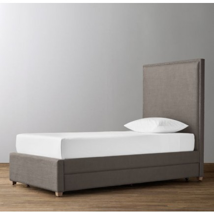 Sydney Upholstered Bed With Trundle-Perennials Classic Linen Weave