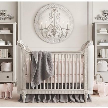 Belle Upholstered Crib Antique Grey Mist