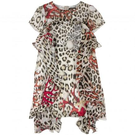 ROBERTO CAVALLI KIDS Printed silk satin dress with flounces
