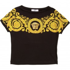 YOUNG VERSACE Girls Black Baroque T-Shirt
